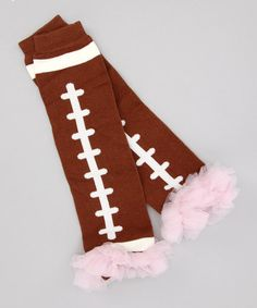 so cute! Brown Football Leg Warmers - Infant by Tulles of Love on #zulily today!