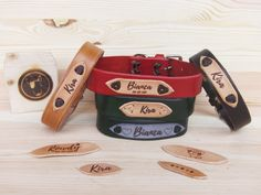 Dog Collar Tags, Id Tag, Collars, Trending Outfits, Unique Jewelry, Classic, Handmade Gifts, Leather