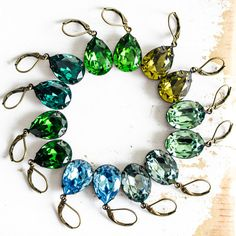 Czech crystal estate jewelry earrings in shades of blue, green. Amazing bridesmaids look