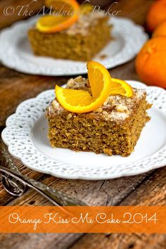"""Want to take a bite of a 1951 Pillsbury Bake-Off award winner? Retro Orange """"Kiss Me"""" Cake is a upgraded version of an old-fashioned dessert recipe! Tropical Desserts, Fun Desserts, Delicious Desserts, Cupcake Recipes, Cupcake Cakes, Dessert Recipes, Cupcakes, Bundt Cakes, Frosting Recipes"""