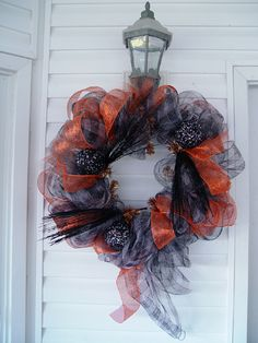"""Here's a quick and easy way to make your own Halloween wreaths from Sinamay mesh netting ribbon and the new """"Work Wreath."""" Your wreath can be customized to the style and color of ribbon you wish to use, accessories and size. The new Work Wreath just stocked at Trendy Tree result in a finished wreath …"""