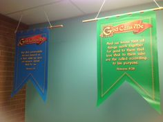 Blue and Green Memory Verse Pennants