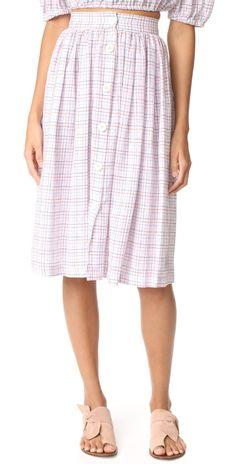 MDS Stripes Midi Button Skirt | SHOPBOP