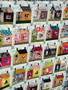 Cute way to use pictures in a quilt! I think old fashioned tv's would also be a fun way to use pictures in a quilt! House Quilt Patterns, House Quilt Block, Quilt Blocks, Quilting Projects, Quilting Designs, Sewing Projects, Printable Fabric, Photo Quilts, Tree Quilt