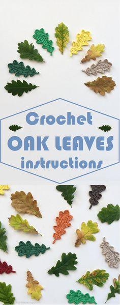 Crochet Oak Leaves Step by Step - Easy Yarn Crafts Crochet Puff Flower, Crochet Flower Tutorial, Crochet Leaves, Crochet Fall, Easy Crochet, Crochet Flowers, Thanksgiving Crochet, Crochet Christmas, Free Crochet