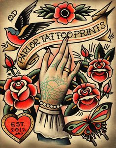 PTP Tattoo Print by ParlorTattooPrints on Etsy, $22.00
