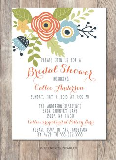 Pin and save: Pin this link and use code THANKS4PINNING to save 10% on your purchase!  https://www.etsy.com/listing/229456853/bridal-shower-invitation-floral-bridal?ref=shop_home_active_14