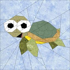 "Turtle 10"" (25cm) paper pieced block quiltartdesigns.blogspot.com"
