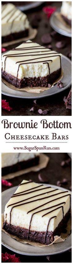 Brownie Cheesecake Bars -- fudgy brownies with a thick layer of real, rich, cheesecake on top || Sugar Spun Run via @sugarsunrun