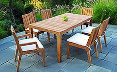 Frontera carries a wide variety of Kingsley Bate outdoor furniture, like this Mendocino Rectangular Dining Table and Chairs Outdoor Dining Furniture, Outdoor Dining Set, Outdoor Tables, Outdoor Living, Outdoor Decor, Garden Furniture, Outdoor Rooms, Indoor Outdoor, Patio Bar Set