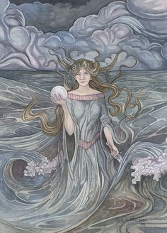 Pearl+of+the+Ocean+Sea+Godess+8.5x11+Signed+Fantasy+by+HoffyCoffee