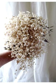 #Pearl bouquet for beach wedding... Wedding ideas for brides, grooms, parents & planners ... https://itunes.apple.com/us/app/the-gold-wedding-planner/id498112599?ls=1=8 … plus how to organise an entire wedding ♥ The Gold Wedding Planner iPhone App ♥