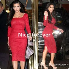 004768067256ae Wholesale Evening Party Dress - Buy Vintage Retro Celebrity Women 2014 Long  Sleeve Red Lace Knee