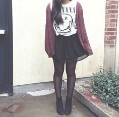 Hipster outfit | nirvana tee/ black skirt/ oversized cardigan