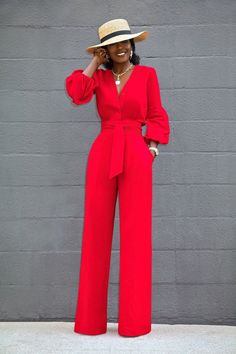 Style pantry button-down wide leg jumpsuit Day Jumpsuits, Jumpsuits For Women, Jumpsuits For Weddings, Fashion Jumpsuits, Red Jumpsuit, Jumpsuit Outfit, Jumpsuit Style, Dress Outfits, Classy Dress