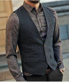 Men's Modern Line Tri Button Slim Fit Formal Vest w/ Decorative Pocket, , Mens Fashion Style, Mode Masculine, Groomsmen Vest, Mode Instagram, Traje Casual, Formal Vest, Herren Outfit, Sleeveless Jacket, Men's Coats And Jackets, Mens Suits