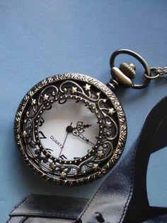 Necklace Pendant Flower bronze Pocket Watch by Azuraccessories, $8.55