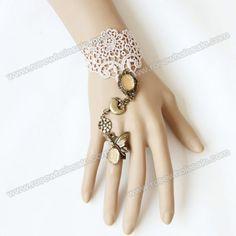 Wholesale Ladylike Exquisite Style Multielement Pendant Embellished Lace Bracelet With Ring For Women (BEIGE,ONE SIZE), Bracelets - Rosewholesale.com