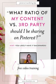 "Two of the most frequent questions I get asked about using Pinterest for business are: ""What ratio of pins should be mine vs other people's?"" and ""Why am I sharing other people's content? How will this help me?"". Sooo, I decided to do a Facebook Live training on it! Watch now! 😍 #pinterestforyourbusiness #pinterestforbusinesstips #pinteresttraffic #pinterestconvert #pinteresttips #pinterestratio #pinratio"