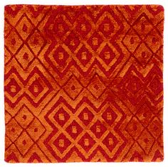 "NEW PRODUCT! in rich warm tones, this geometric pattern can add flair to any space. Seen here in a 1'6""x1'6"" sample. Contemporary Carpet, Thing 1, Textured Carpet, Geometric Designs, New Product, Hand Weaving, Custom Design, Vibrant, Warm"