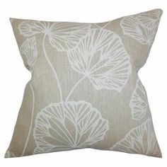 """Cotton pillow with a botanical motif and down insert. Made in Boston.   Product: PillowConstruction Material: Cotton cover and 95/5 down fillColor: SandFeatures:  Insert includedHidden zipper closureMade in Boston   Dimensions: 18"""" x 18""""Cleaning and Care: Spot clean"""