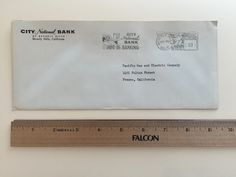 """Item: fc_19571007_5 Advertising cover approx. 4"""" x 9 ½""""  Condition: very good –yellowing due to age and slight creases  City Natioanl Bank of Beverly Hills Beverly Hills, California  Postage Meter: City National Bank Drive-in Banking BEVERLY HILLS OC-7'57 CALIF. P.B. METER 332788 U.S. POSTAGE 03  Addressee: Pacific Gas and Electric Company 1401 Fulton Street Fresno, California  On Back flap: Federal Deposit Insurance Corporation Member (logo) $10,000 Maximum Insurance for Each Depositor"""