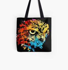 Cool owl colorful animal print tote bag. Watercolor art work for owl lovers. Animal Print Tote Bags, Beagle Art, Owl Artwork, Best Dad Gifts, Cute Pugs, Cat Colors, Baby Owls, Watercolor Art, Art Work