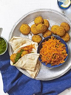 This recipe for sweet potato falafel with coriander chutney and carrot salad is vegan, low-calorie and gluten-free. Plus, it's ready in under an hour - perfect for midweek.