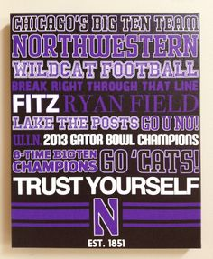 Northwestern University NU Football canvas art print gift home decor * For Iowa Instead Basketball Rules, Basketball Shooting, Basketball Leagues, Gator Bowl, Football Canvas, What Team, Western Michigan, College Football Teams, Northwestern University
