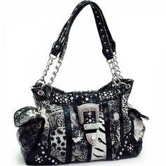 Animal Print Handbag Purse W Rhinestone Western Belt Buckle Chain Handles Black