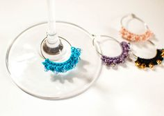 Beaded Crochet Wine Glass Charms