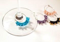 Beaded Crochet Wine Glass Charms
