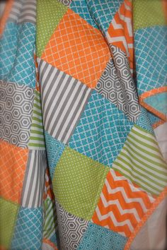 Orange Green Teal And Gray Baby Boy By MadeWithLoveBedding On Etsy
