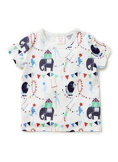 100% cotton short sleeve tee with all over circus print and shoulder snaps for easy dressing