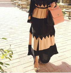 // black lace and blush abaya.