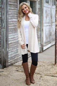 Never Felt Better Cardigan - cute oatmeal knit cardigan, fall outfit, front, Closet Candy Boutique Outfits 2019 Outfits casual Outfits for moms Outfits for school Outfits for teen girls Outfits for work Outfits with hats Outfits women Cream Cardigan Outfit, Cardigan Style, Winter Cardigan Outfit, Leggings Outfit Fall, Legging Outfits, Cardigan Outfits, Dresses With Leggings, Business Casual Outfits, Casual Fall Outfits