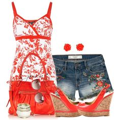 """""""Floral Print Denim Cutoffs & Floral Cami Top"""" by jaimie-a on Polyvore"""