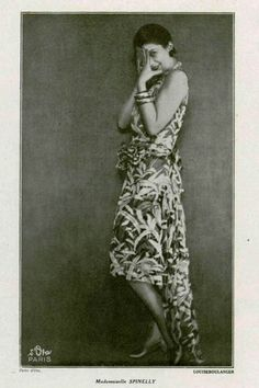 "1929 | Spinelly wears a ""printed chiffon evening frock"" by Louiseboulanger. Source: L'Officiel de la Mode"