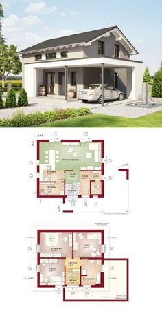 modernes einfamilienhaus haus edition 1 v2 bien zenker fertighaus mit satteldach grundriss modern hauseingang - Fertighausplne
