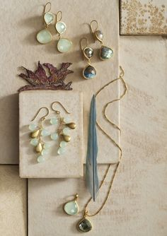 Exquisite labradorite and chalcedony jewelry Find these and other