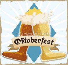 Retro Poster with Double Beer Boot Toasting in Oktoberfest Celebration, Vector Illustration — Stock Illustration Beer Boot, Lager Beer, Drinking Games, Celebration, Stock Photos, Disney Princess, Retro, Disney Characters, Illustration
