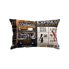 "Express Pillow 13"" x 20"", 100% cotton, hand screen-printed, removable polyfill insert, back opening with tie closure.   — Passport Goods"
