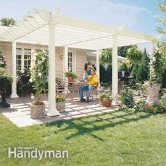 Learn how to build a pergola in your backyard to shade a stone patio or deck. These pergola plans include wood beams and lattice set on precast columns. Diy Pergola, Building A Pergola, Pergola Canopy, Wooden Pergola, Pergola Ideas, Building Plans, Cheap Pergola, Garage Pergola, Corner Pergola