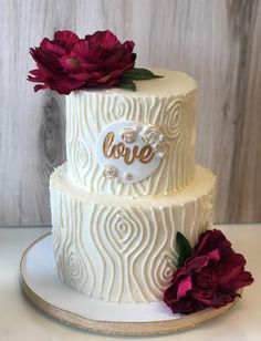 Elegant rustic tree wood texture wedding cake with gold and floral accents by Flavor Cupcakery 2 Tier Wedding Cakes, Wedding Cake Rustic, Elegant Wedding Cakes, Floral Wedding, Wedding Flowers, Bling Wedding, 25th Wedding Anniversary Cakes, Anniversary Cake Designs, Elegant Birthday Cakes