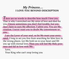 My Princess... I love you beyond description | God's love | Keeping Faith