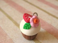 Fimo Cupcake Charm with Strawberry