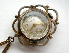 Antique Watch Brooch Rolled Gold Swiss Ladies