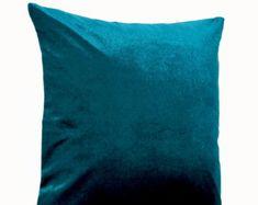 lush teal velvet oatmeal linen pillow teal pillow case cushion cover velvet decorative