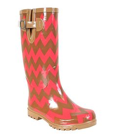 Nomad Footwear Brown & Coral Chevron Puddles Rain Boot by Nomad Footwear #zulily #zulilyfinds