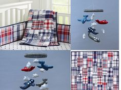 Baby Crib Mobile- Airplane Baby Mobile- Blue, Grey, & Red Airplane Mobile- Made to Match Pottery Barn Kids Madras Bedding (Pick Your Colors)